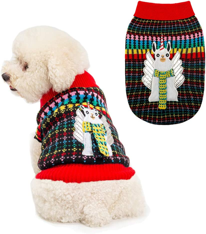 KOOLTAIL Crochet Dog Argyle Sweater Knitted for Small Doggie Puppy Cat Small