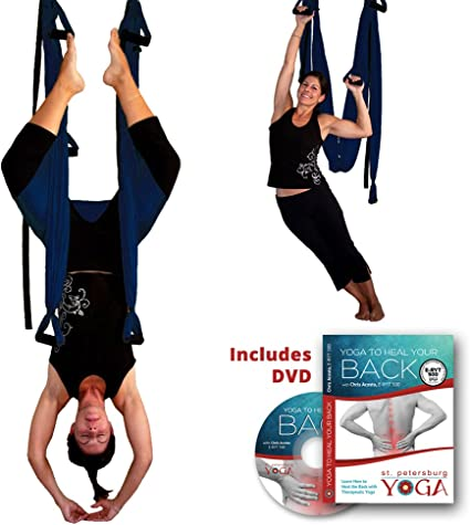 Amazon.com: Inversion Sling – Yoga Swing (Azul Oscuro) + ...