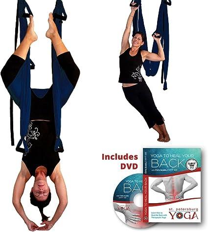 Amazon.com: Inversion Sling – Yoga Swing (Azul Oscuro) + ...