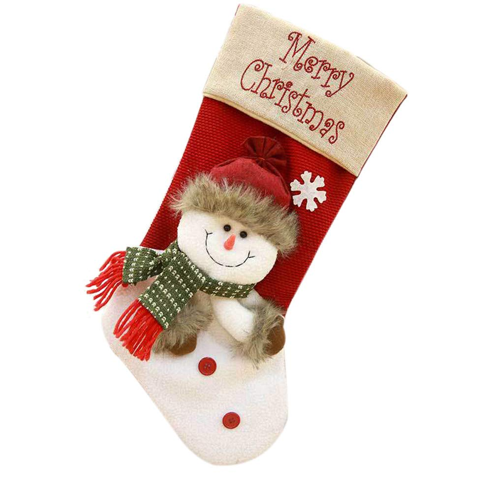 Christmas Tree Decorations, Jchen(TM) Happy Year Christmas Decor Christmas Santa Socks Cute Ornaments Festival Party Xmas Tree Hanging Decoration (White)