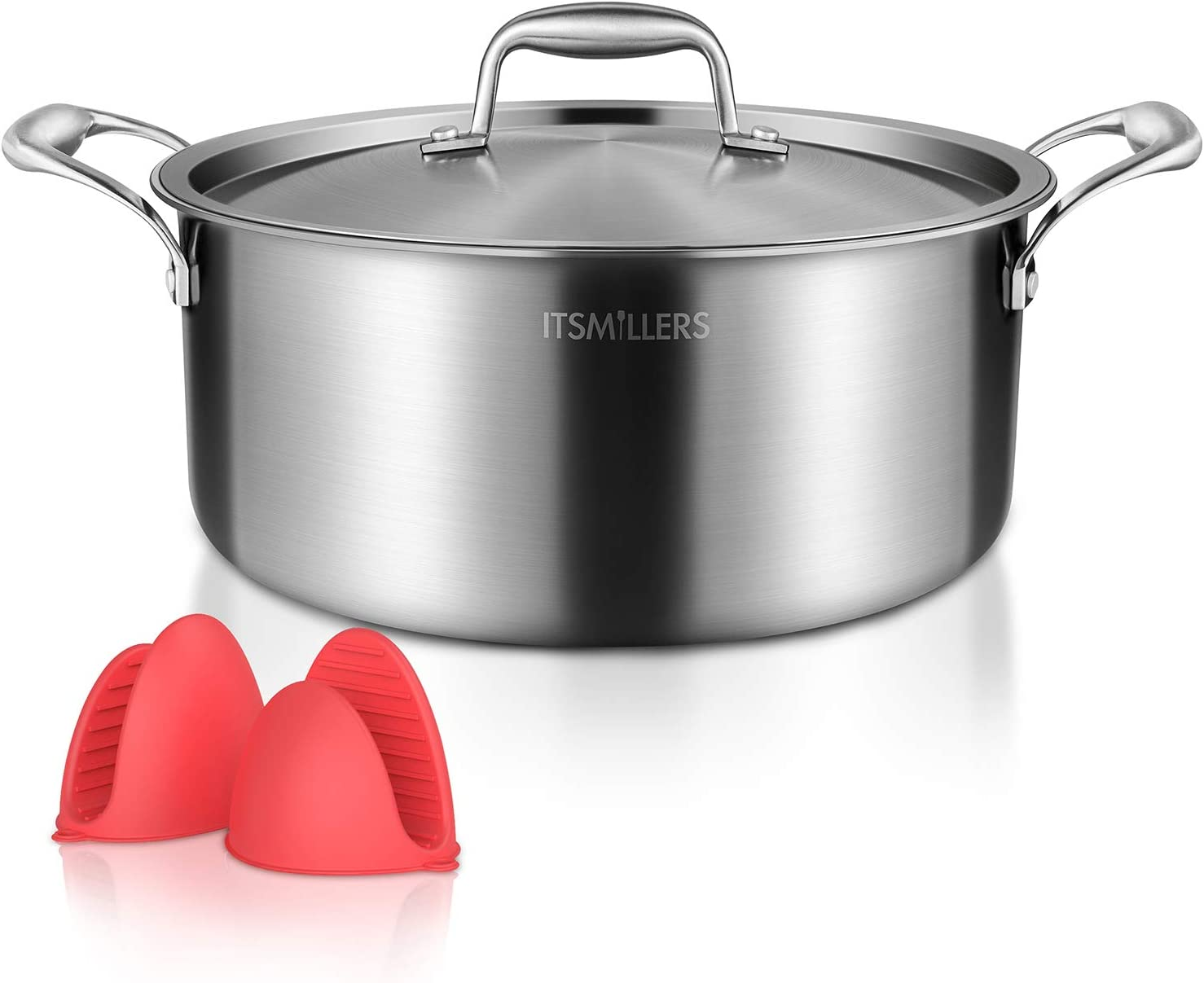 ITSMILLERS Premium Tri-ply Stainless Steel Stock pot with lid, 8-Quart Harm Free Dutch Oven with Silicone Oven Mitts,Oven Safe up to 500°F