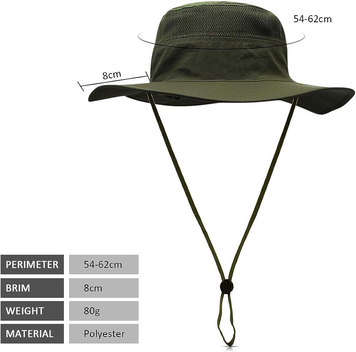 DORRISO Unisex Sun Hat Wide Brimmed Bucket Hat UPF 50 Foldable Vacation Traveling Mountaineering Beach Bush Hat Waterproof Polyester Men Womens Fisherman Cap