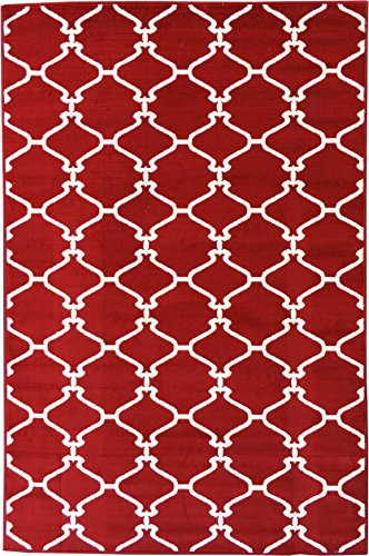 Sweet Home Stores Clifton Collection Red Moroccan Trellis Design (5' X 7') Area Rug (Trellis Red Area Rugs)