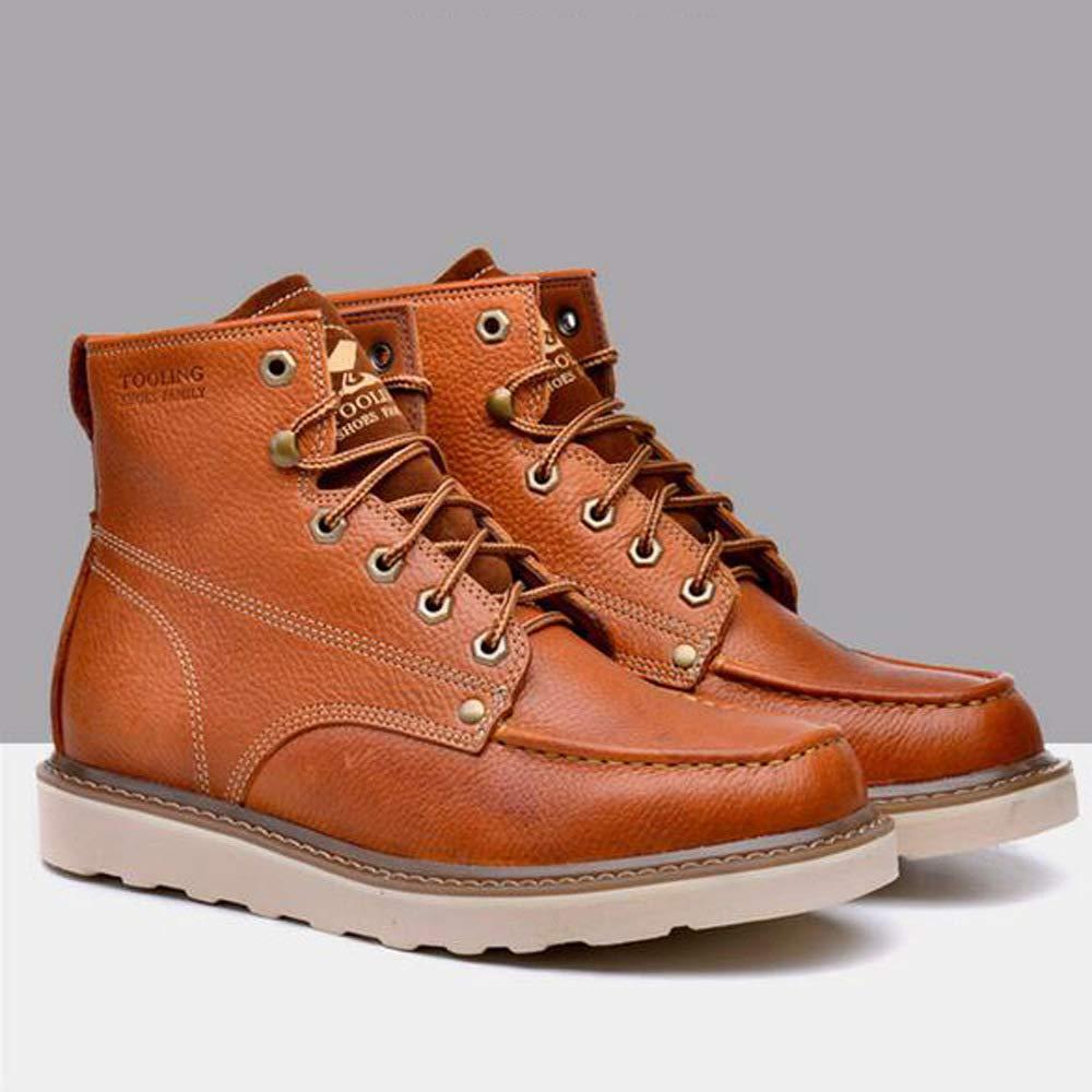 GZZ Schuhe Herren Stiefel Stiefel Stiefel Martin Outdoor Rutschfeste Atmungsaktiv Schnee Werkzeug Leder Stiefel Herbst Winter Keep Warm,Light-braun-43 f91c7c