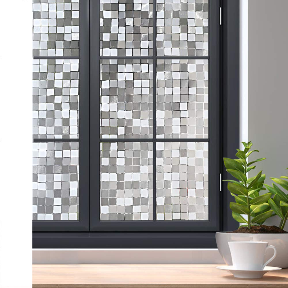 Rabbitgoo 3D Decorative Window Film Privacy Winodw Cling No Glue Static Door Film for Sun Blocking, Anti-UV Window Sticker, for Home Office, Mosaic Pattern, 23.6 x 78.7 inches by Rabbitgoo