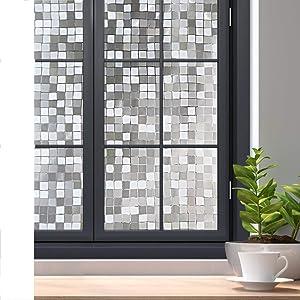 rabbitgoo 3D Decorative Window Film Privacy Window Cling No Glue Static Door Film for Sun Blocking, Anti-UV Window Sticker, for Home Office, Mosaic Pattern, 35.4 x 78.7 inches