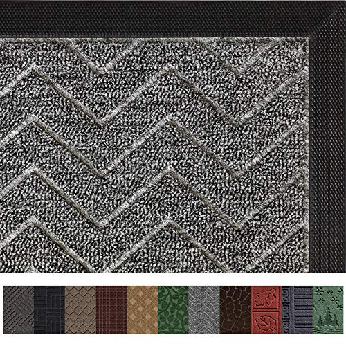 Gorilla Grip Original Durable Rubber Door Mat (29 x 17) Heavy Duty Doormat, Indoor Outdoor, Waterproof, Easy Clean, Low-Profile Mats for Entry, Garage, Patio, High Traffic Areas (Charcoal: Chevron)