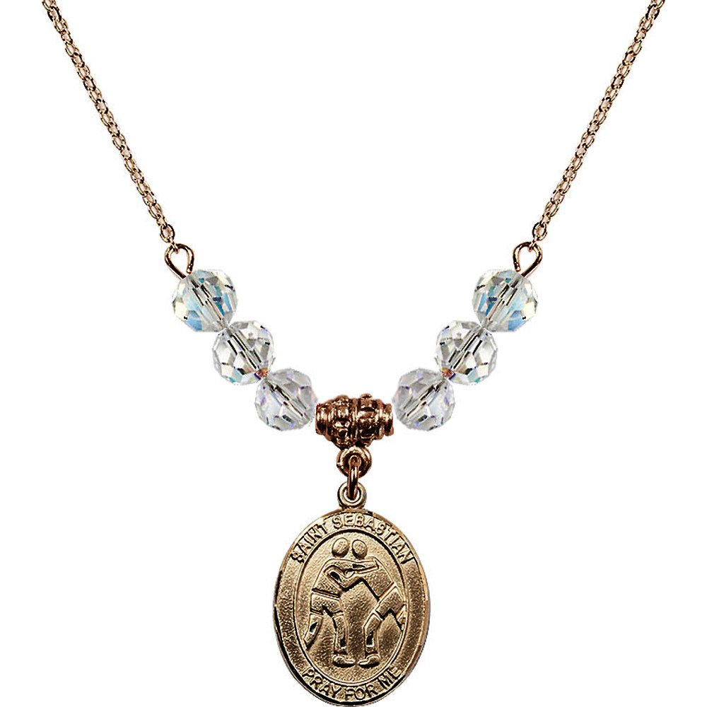 18-Inch Hamilton Gold Plated Necklace with 6mm White April Birth Month Stone Beads and Saint Sebastian/Wrestling Charm
