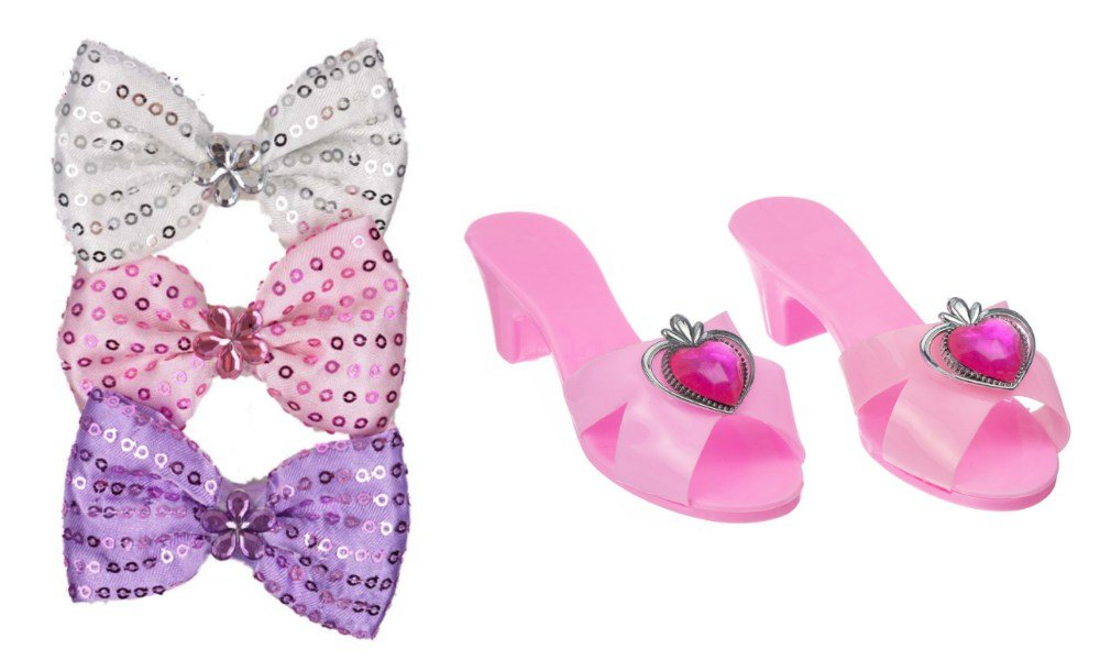 Princess Expressions Girls Dress up Shoes and Hair Bow Bundle (Pink W/Heart Stone and Purple Bow)