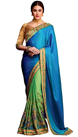 d3beee62a1 Amazon.com: INMONARCH Womens Green and Royal Blue Silk Partywear Saree  SRD304: Clothing