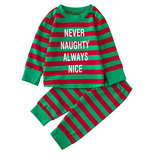 61fdf0169bea Amazon.com: Infant Toddler Baby Girls Christmas Costume Outfit 0-2 Years  Old,Cute Letter Stripe Tops Shirt Print Pants Sets: Clothing