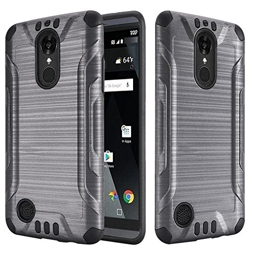 LG K20 Plus / K20 V VS501 / LG Grace L59BL / LG K10 [2017] Case Slim Armor Heavy Duty Brushed Metal Metallic Finish TPU Shock Impact Protection Dual Layer Protective Cover (Gray)