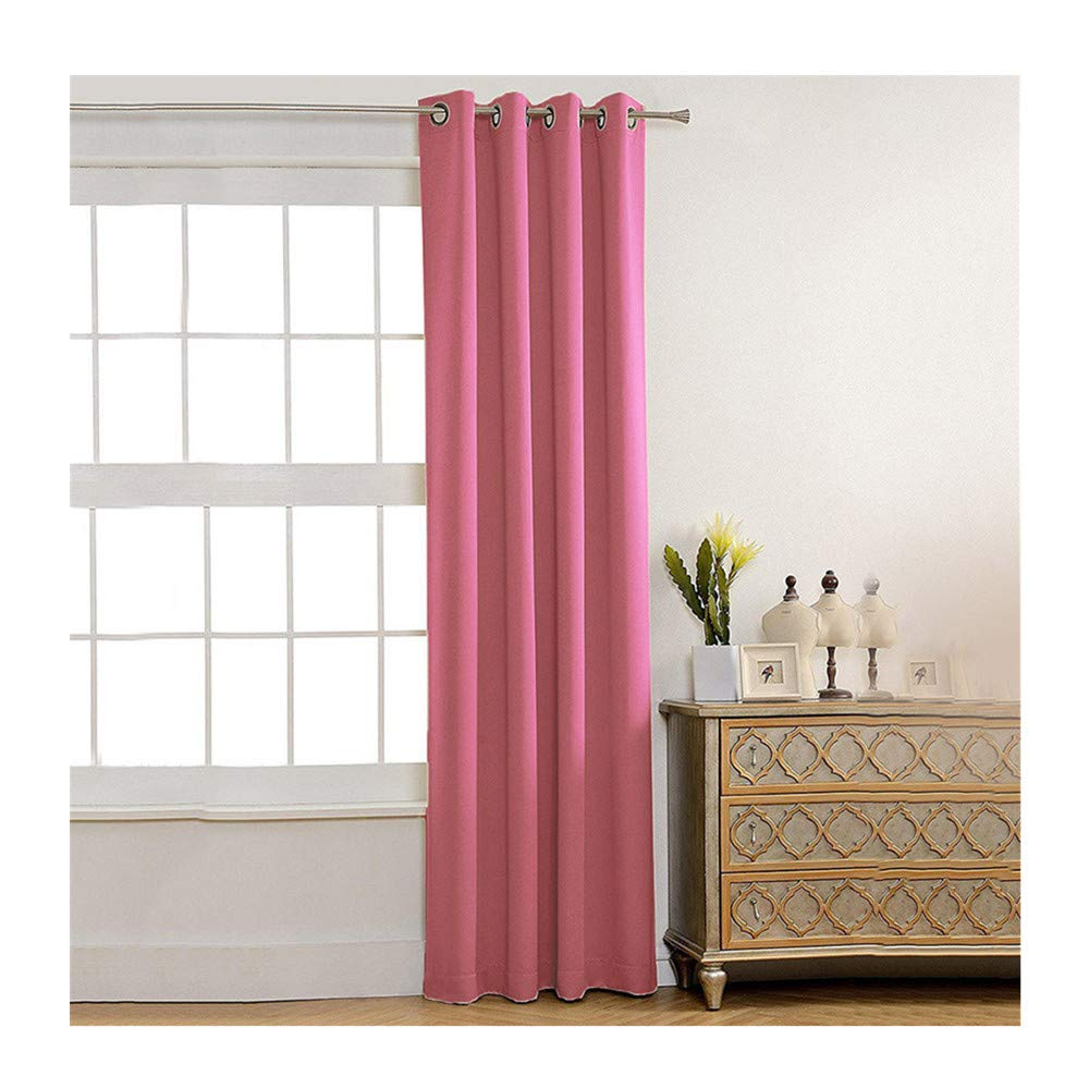 Insulated Foam Lined Heavy Thick Curtains,2PCS Blackout Curtain, Modern Smooth Fabric Solid Color Window Door Curtain for Dining Room,Living Room,Bedroom (Pink) by Promisen