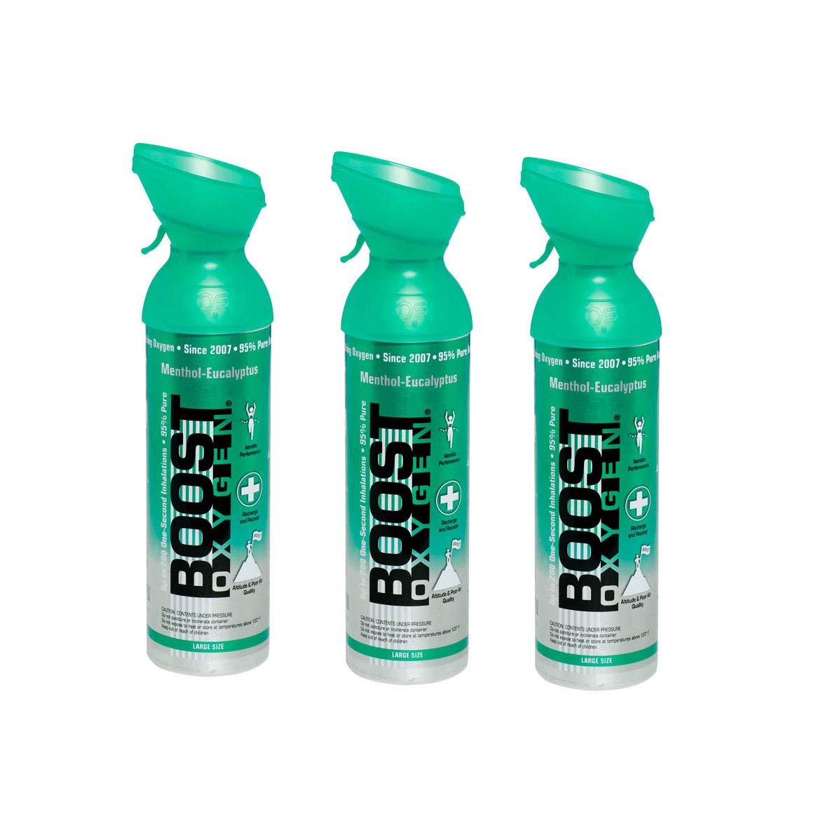 Boost Oxygen Natural 10 Liter Pure Oxygen Canister, Menthol Eucalyptus (3 Pack)