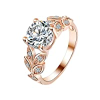 Gespout Noble Diamond Ring Elegant Crystal Rings Wedding Jewelry For Women Girlfriend, Rose Gold, Size M
