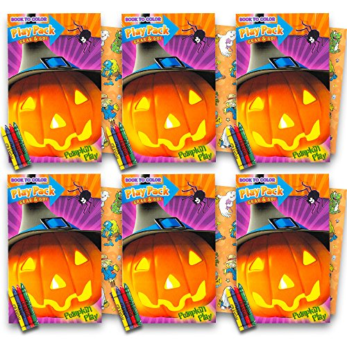 Halloween Party Favors Packs for Kids Toddlers ~ Set of 6 Packs Filled with Halloween Stickers, Small Coloring Book and Crayons (Halloween Party Supplies)