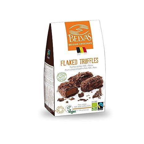 Vegan Chocolate Gourmet Trufa - 72% Cacao, sin gluten, comercio justo, Bio orgánico hecho a mano excelente belga copos de Chocolate Truffles - ganador de ...