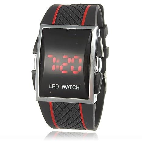 CursOnline Reloj digital de pulsera LED rojos o azul unisex Wrist Watch Negro con bandas rojas