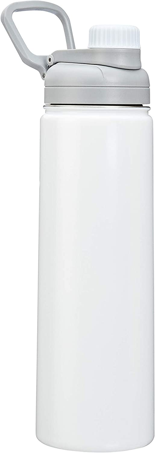 AmazonBasics Stainless Steel Insulated Water Bottle with Spout Lid – 20-Ounce, White