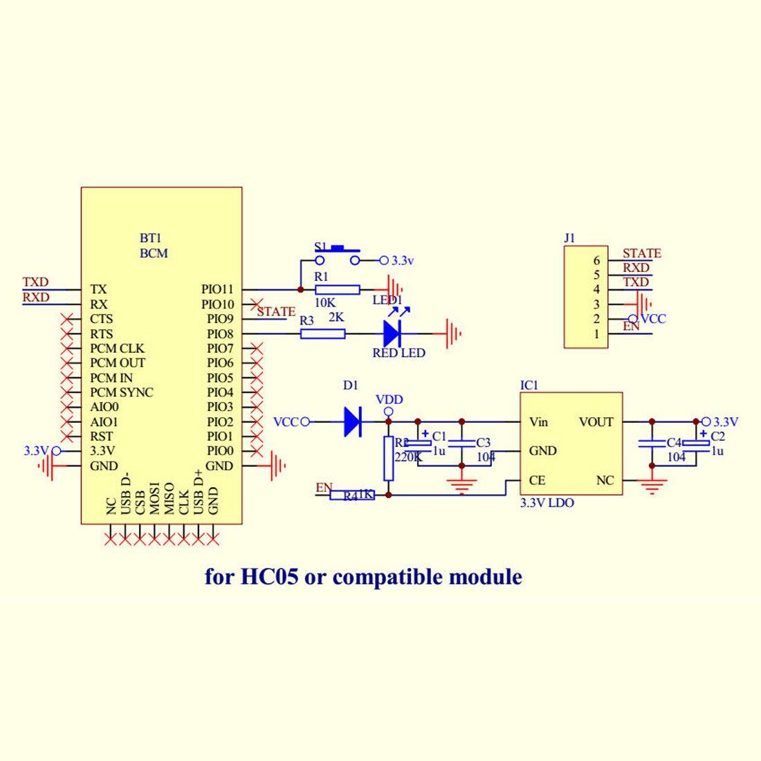 Hiletgo Hc 05 6 Pin Wireless Bluetooth Rf Transceiver Block Diagram Module Serial Bt For Arduino Computers Accessories