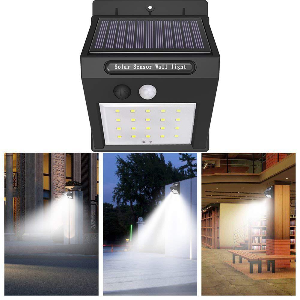 Lámpara Solar, iBazal 20 Led Luz Solares Impermeable Foco Solar Exterior con Sensor de Movimiento para Jardín, Terraza, Garaje, Camino de Entrada, ...