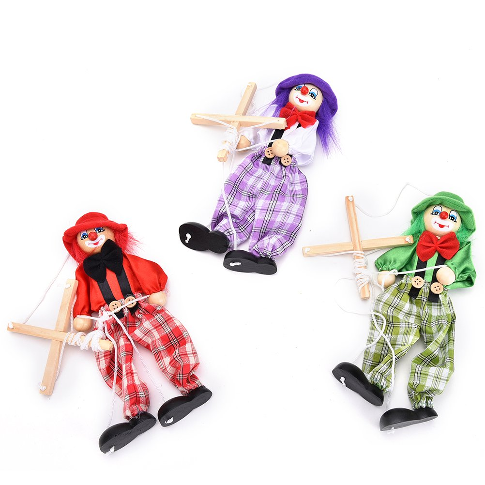 1 Pcs Pull String Puppet Wooden Marionette Joint Activity Doll Clown Kids Toy,Color Random by Sdetter The glass Heart