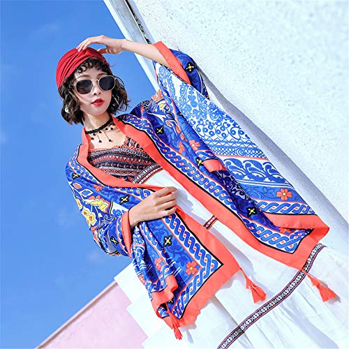 Silk Scarf Female Sunscreen Shawl Spring Printed Cotton And Linen Scarf Beach Towel K 180X90Cm]()
