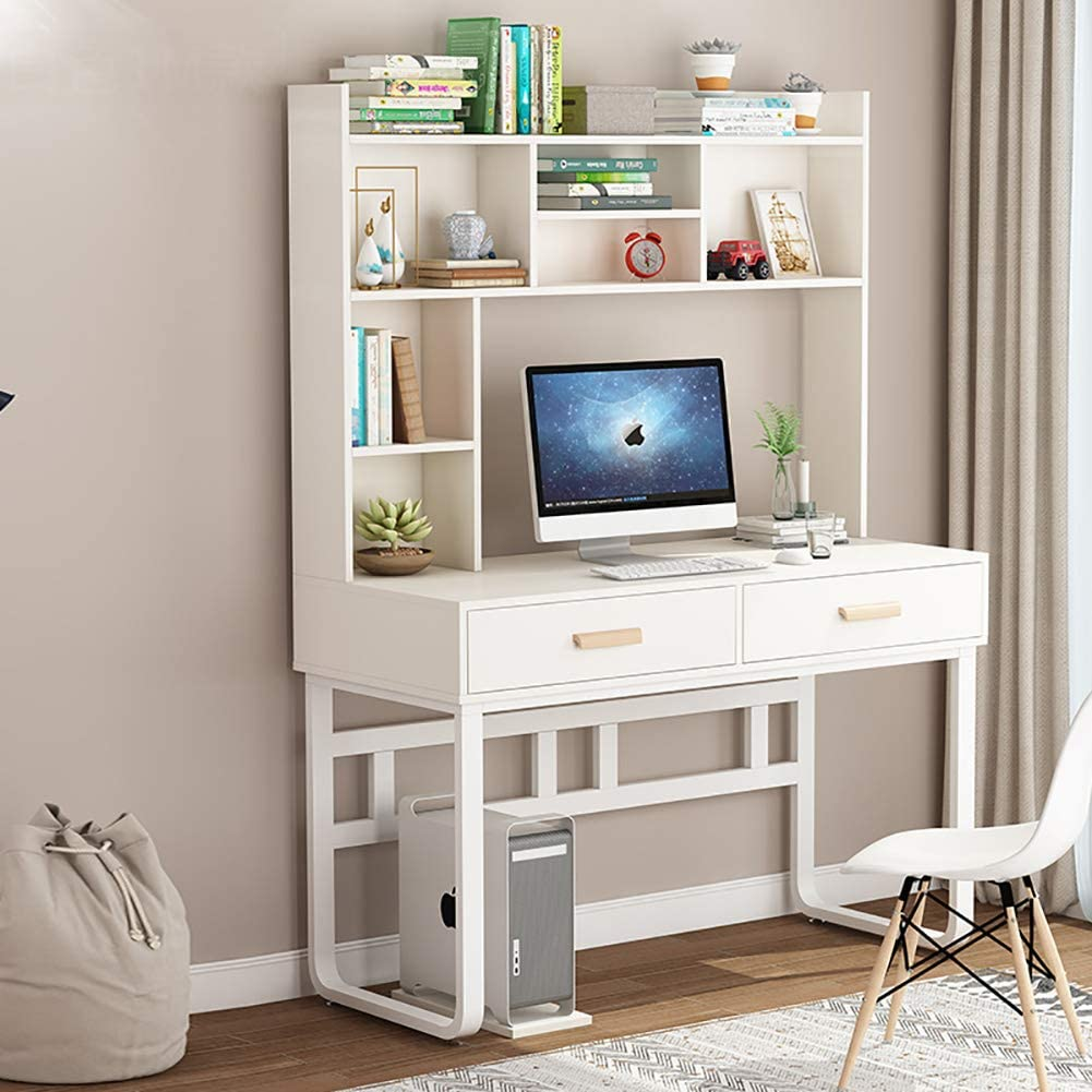 Desk Large Study Computer Table Bookshelf, Multipurpose Home Office Table Drawer Writing Desk Steel Frame-a 100cm/39.4in