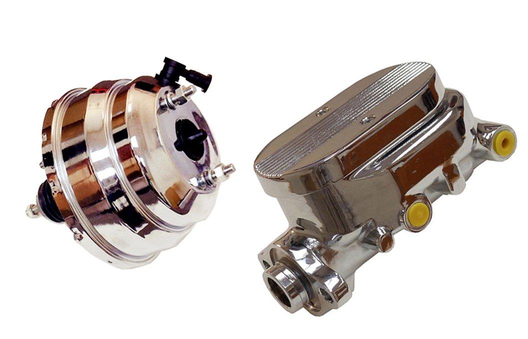 8' Dual Universal Chrome Brake Booster and GM Chrome Aluminum Brake Master Cylinder DEMOTOR