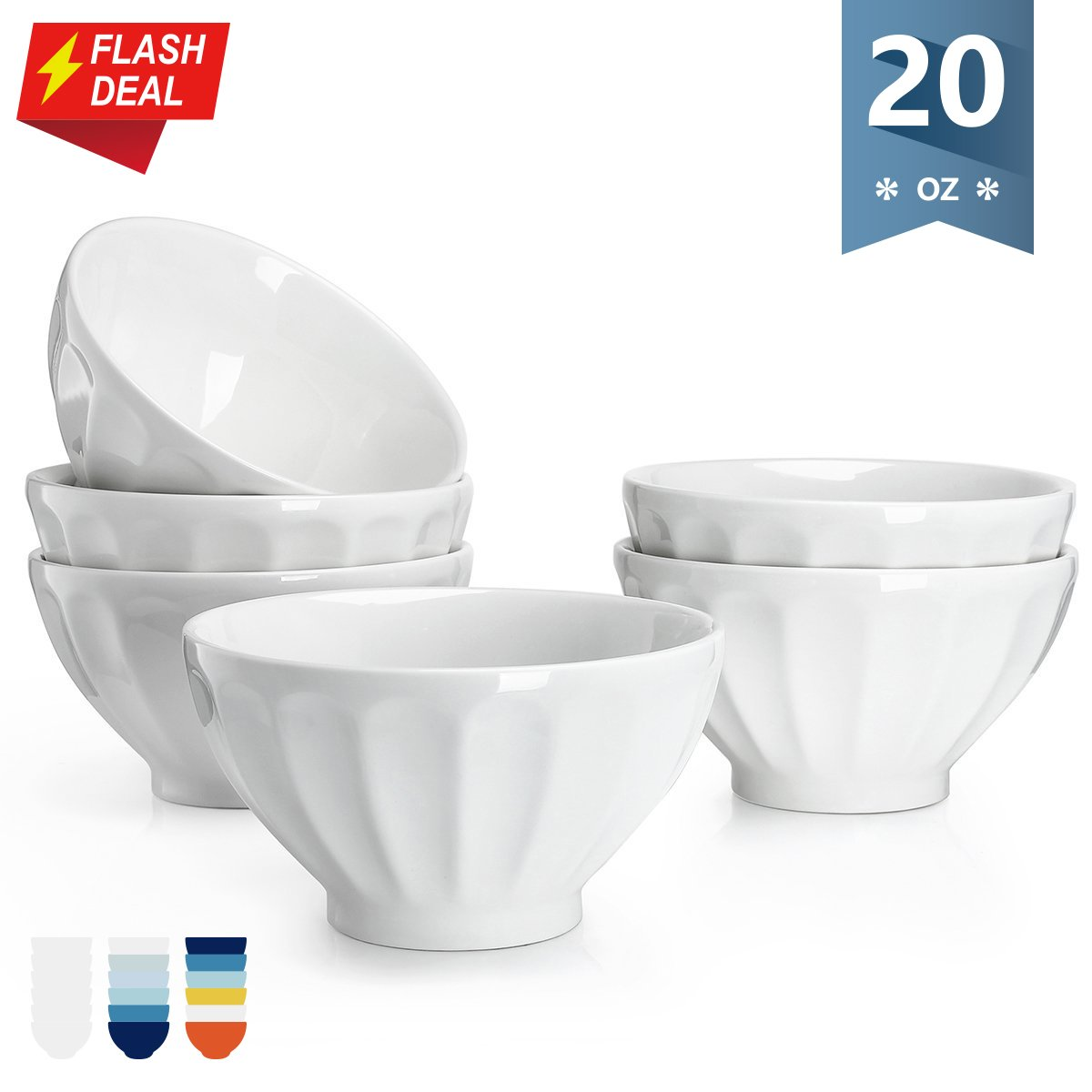 【Flash Deal】Sweese 1117 Porcelain Fluted Latte Bowl Set - 20 Ounce Deep and Microwavable for Cereal, Soup - Set of 6, White
