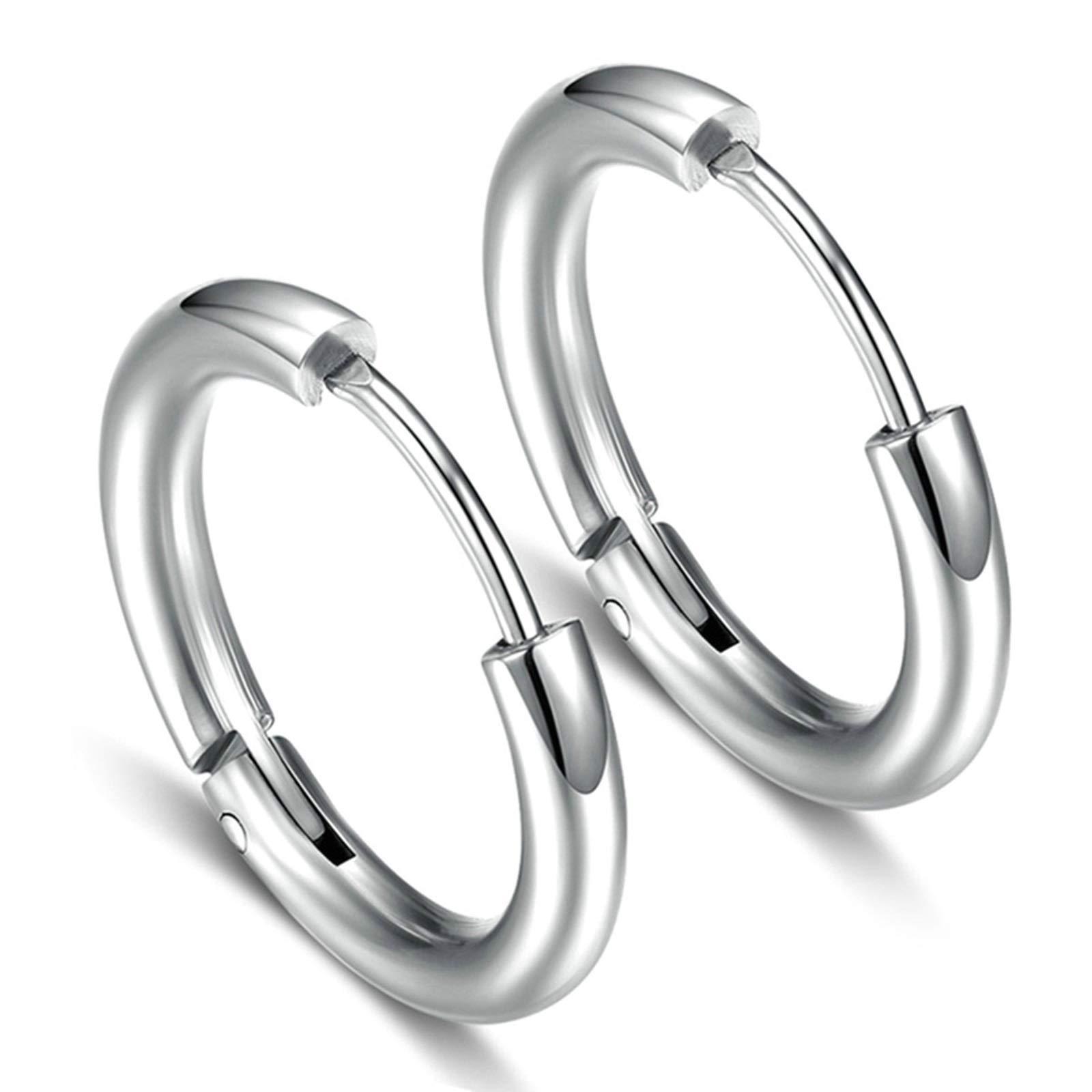 Aokarry Surfical Steel Hoop Earrings Wide 2.5MM Women's Men's 1 Pair Silver 12MM