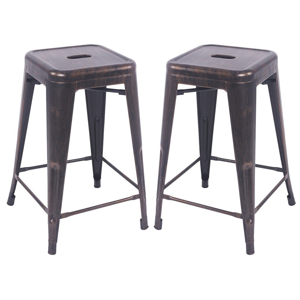 Merax 24'' Metal Counter Barstools with Square Seat for Indoor/Outdoor Set of 2 (Golden Black)