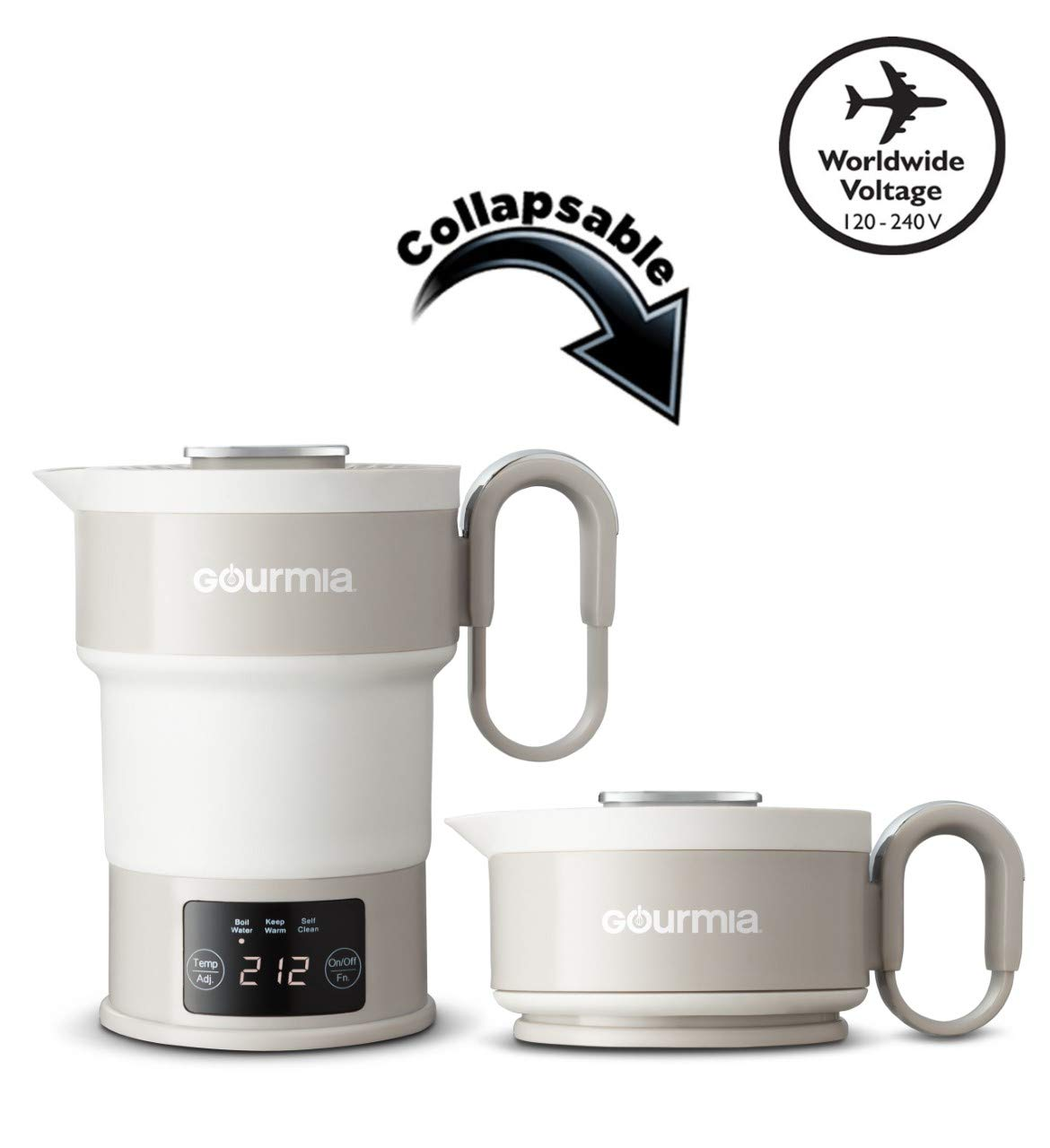 Gourmia GDK368 Digital Electric Collapsible Travel Kettle - Foldable & Portable - Dual Voltage - 3 Function- Boils, Keeps Warm & Self Cleans - Fast Boil - Water Heater For Coffee, Tea & More - Food Grade Silicone - Boil Dry Protection - 20 oz capacity (Grey)