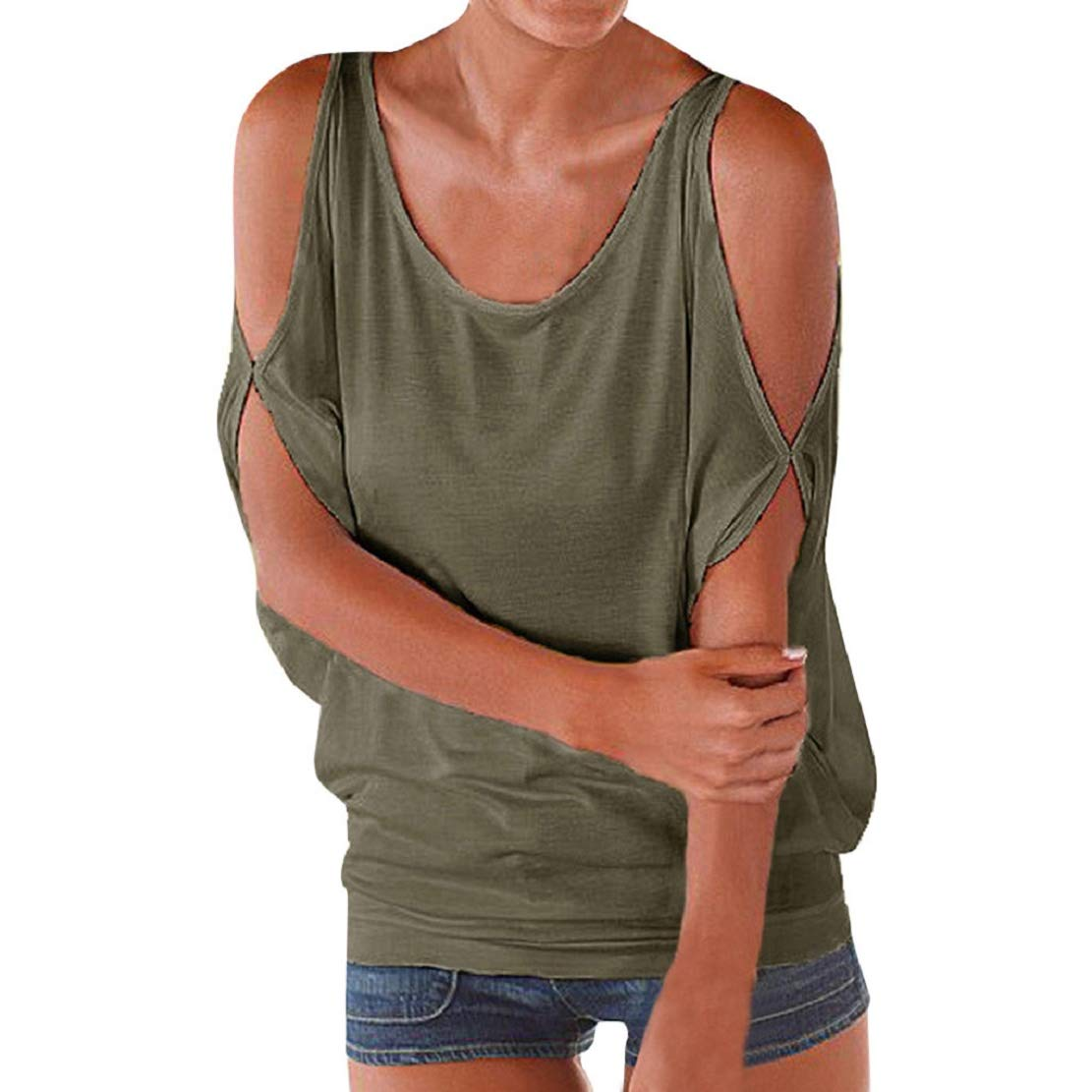 Women Loose Cold Shoulder Cutout Bat Sleeve T Shirt Round Neck Casual Fashion Short Sleebe Blouse Tees by Lowprofile Army Green