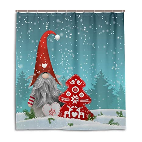 Lovely Sprite Christmas Gnome Standing Snowfall Shower Curtain Polyester Waterproof Mildew Proof Merry Red