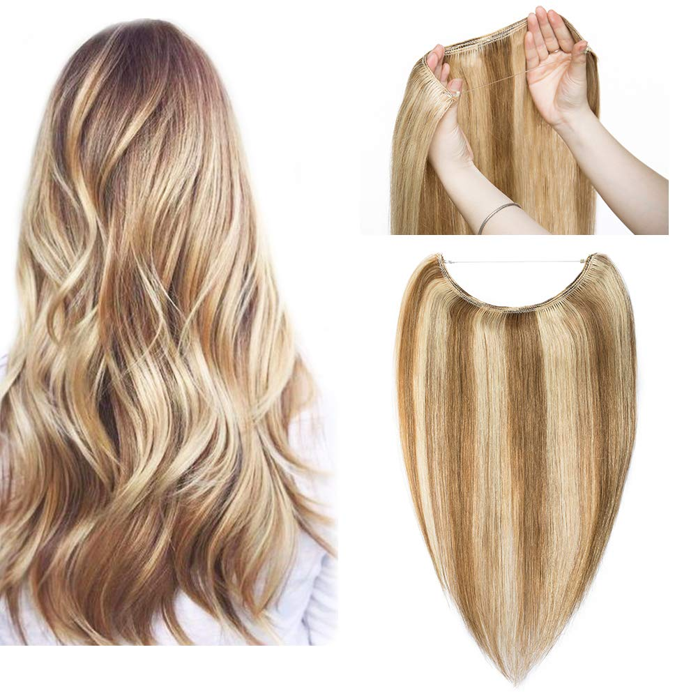 Hidden Invisible Crown Flip on Human Hair Extension One Piece Secret Miracle Wire in Hairpieces Highlight Remy Hair Translucent Fish Line Headband 60g 16''#12P613 Light Brown with Bleach Blonde