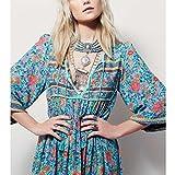 Paymenow Women Deep V-Neck Bandage Irregular Long Sleeve Boho Ladies Evening Party Tassel Maxi Dress Plus Size (XXXL, Blue)