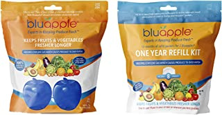 product image for Bluapple Blue Produce Freshness Balls Fresh Extender + One-Year Refill Kit 15 Months Pack Absorb Ethylene Gas