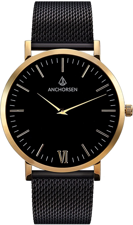 ANCHORSEN Big Adventure Maritime Armbanduhr - Farbe Gold - Schweizer Uhrwerk - Schwarzes Ziffernblatt - Schwarzes