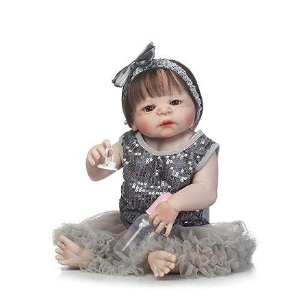 """22/"""" CORPO PIENO in silicone Bambole Reborn realistica BAMBOLA BAMBINA NEONATO Natale UK"""