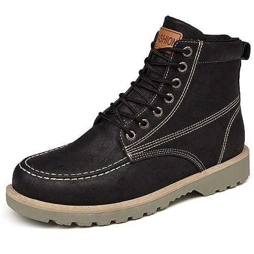 Botas De Nieve para Hombre con Cordones Botas Martin De Cuero Botines Impermeables De Seguridad para El Trabajo Calzado Casual En Negro/Verde/Gris: ...