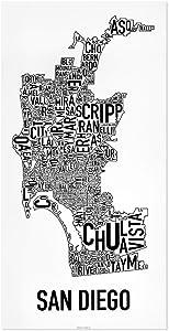 "San Diego Neighborhoods Map Poster, Black & White, 16"" x 32"""