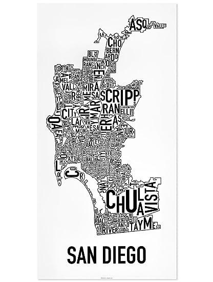 San Diego Map Of Neighborhoods.Amazon Com San Diego Neighborhoods Map Poster Black White 16 X