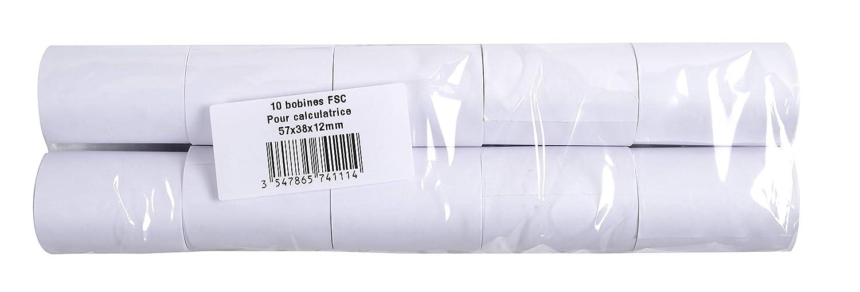 mit 10 Kassenrollen, 1-lagig Offset standard, ideal f/ür Tischrechner, 60g//mq, Breite: 70mm, Durchmesser Kern 12mm, L/änge 44m 1 x 10 St/ück Exacompta 40513E Packung 1er Pack extra-wei/ß