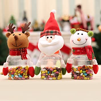 minedecor christmas candy dish set sugar box christmas decorations plastic clear candy bottle with cute toys