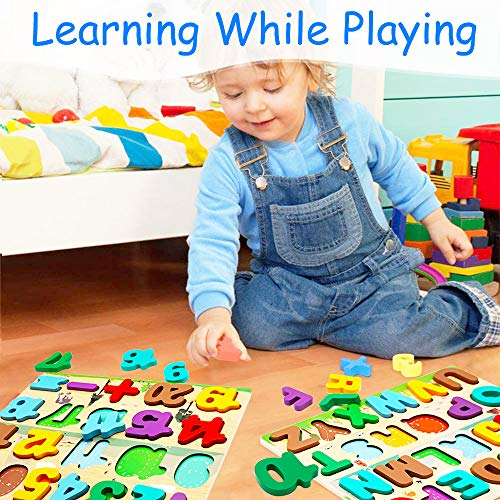 Wooden Puzzles for Toddler, Kids Learning Toys ABC Alphabet Letters Number Shape Jigsaws & Clock, Baby Preschool Educational Montessori Games Children Present Gift for Boys Girls Age 3 4 5 6(Set of 4)