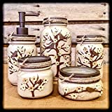 Ivory and Bronze Hand Painted Mason Jar Office Decor, 5 Piece Mason Jar Bathroom Set For Sale