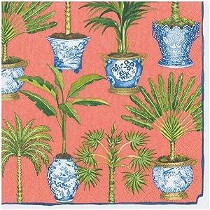 Caspari Coral, Potted Palms Paper Cocktail Napkins, 20 Per Package