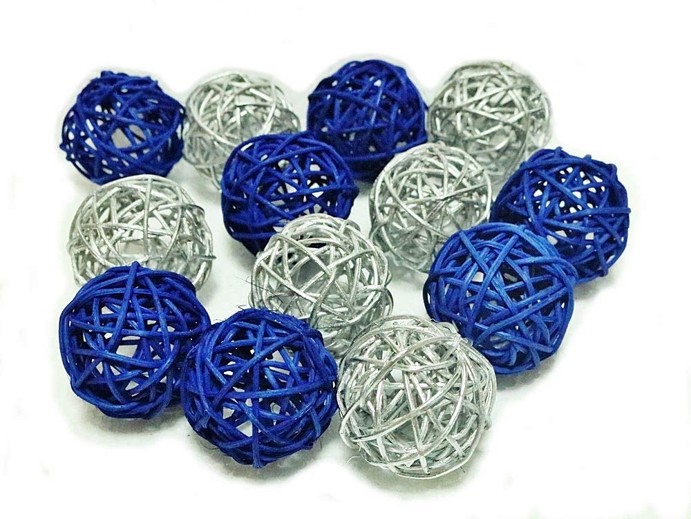 Christmas Gifts : Small Silver And Blue Rattan Ball, Wicker Balls, DIY Vase And Bowl Filler Ornament, Decorative spheres balls, Perfect For Decoration And Party 2.5 inch, 12 Pcs.