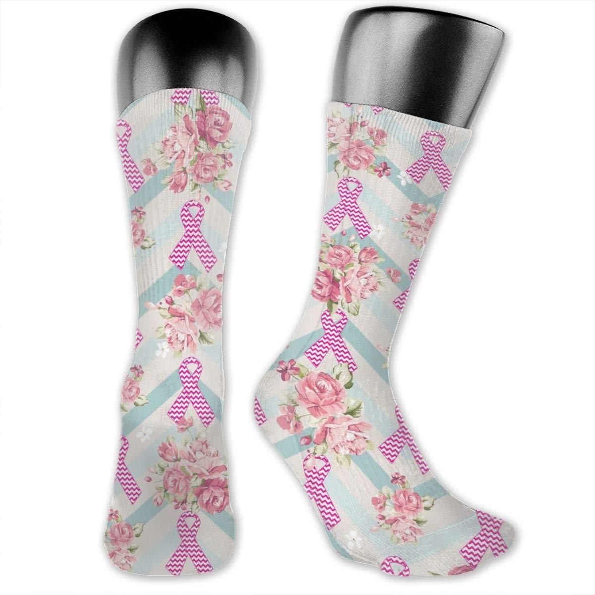 Personalized Breast Cancer Awareness Butterfly Dress Socks For Women Men